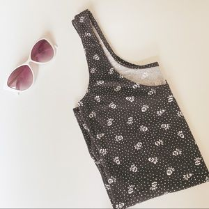H&M Divided Black and White Floral Tank Top